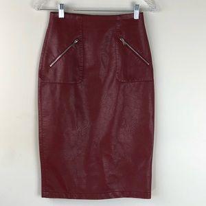 Zara Basic Wine Faux Leather Pencil Skirt Size XS